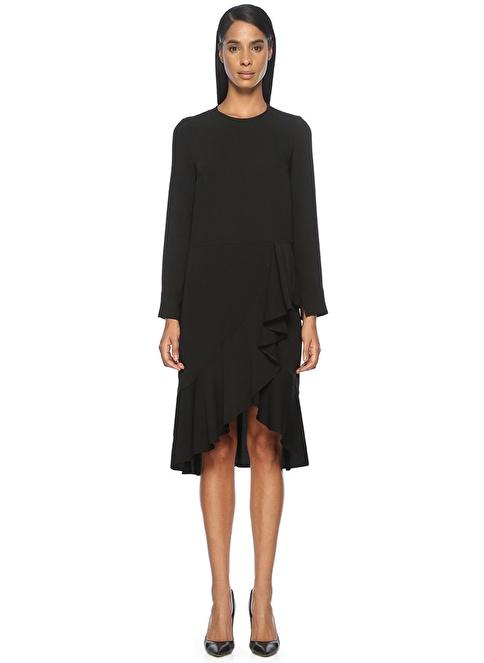 Beymen Collection Uzun Kollu Volanlı Elbise Siyah